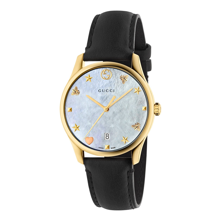 G-Timeless 36mm Yellow Gold Mother of Pearl House Motif Gucci Dial Watch