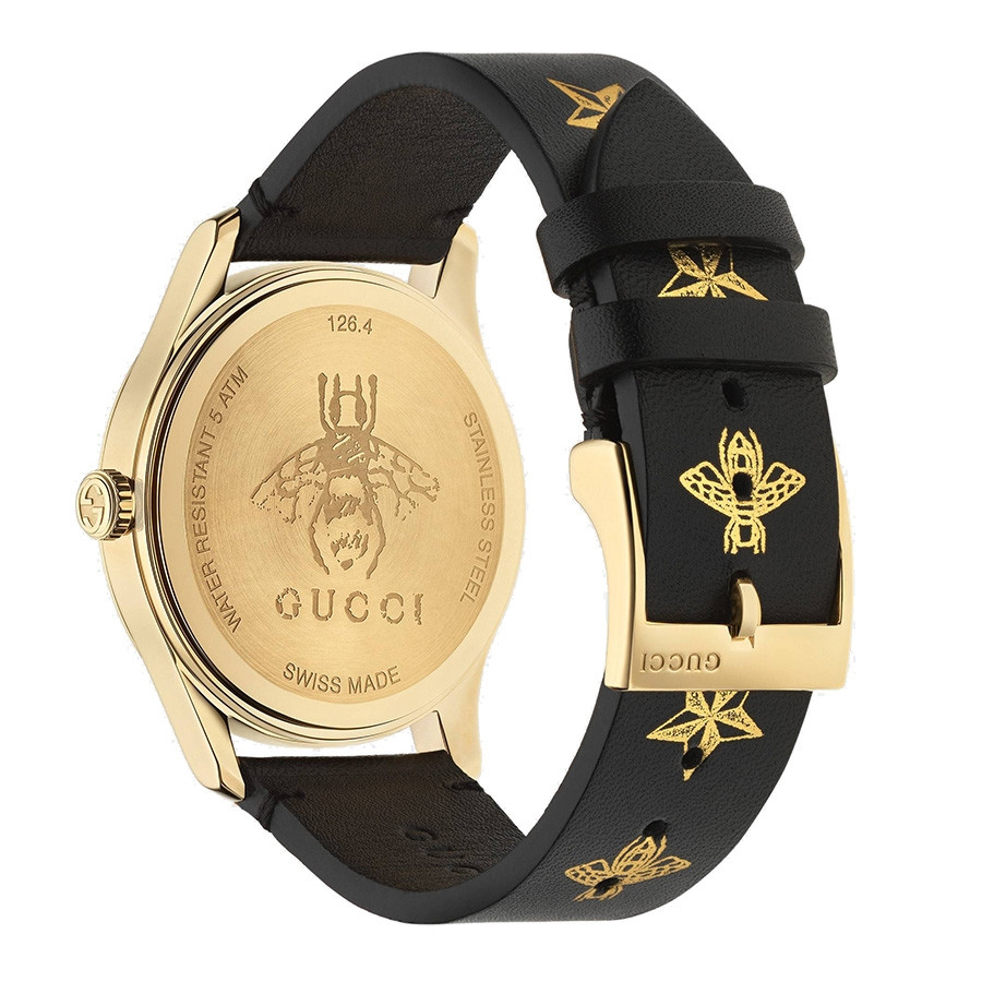 Gucci Black & Yellow Gold Bee & Star Motif G-Timeless Watch Back View