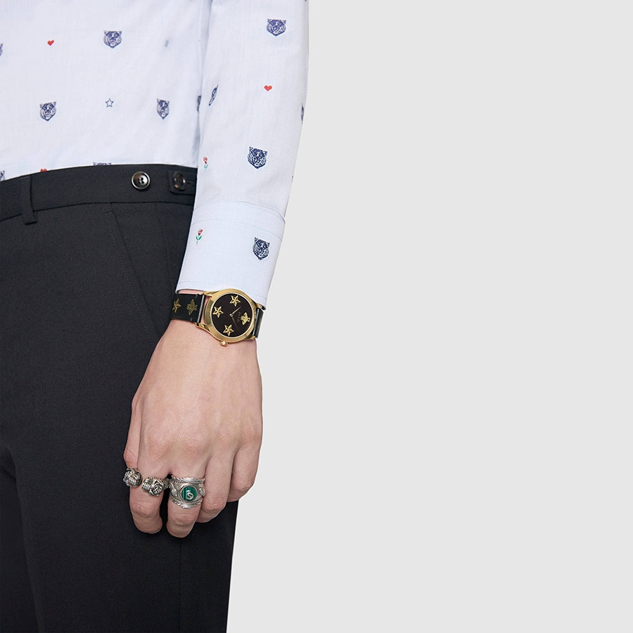 Gucci Black & Yellow Gold Bee & Star Motif G-Timeless Watch on Model