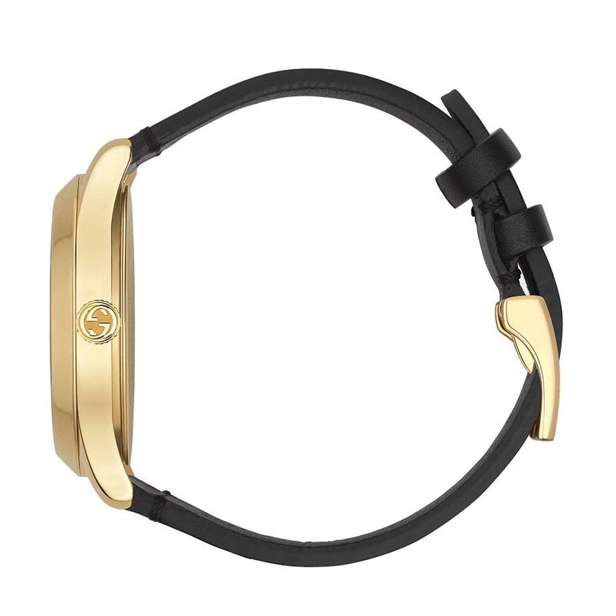 Gucci Black & Yellow Gold Bee & Star Motif G-Timeless Watch Side View