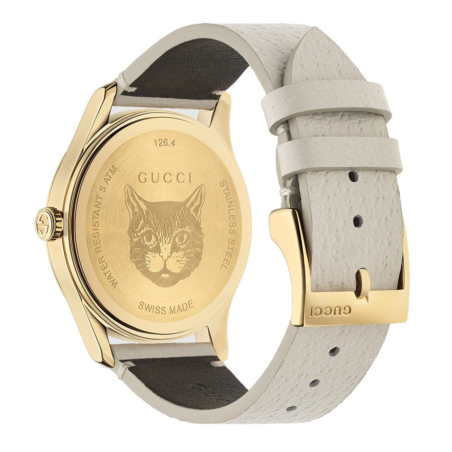 d82b4cc8259 Gucci G-Timeless Yellow Gold Plated PVD Moth Motif Leather Watch YA1264062