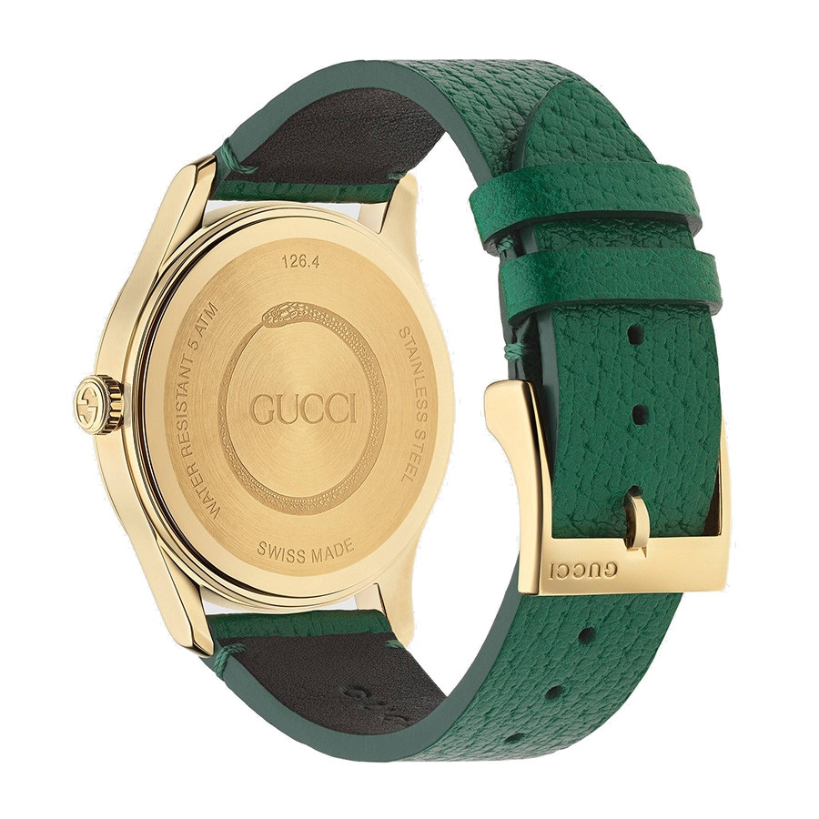 Gucci Green & Yellow Gold Bee Motif G-Timeless Watch Back View
