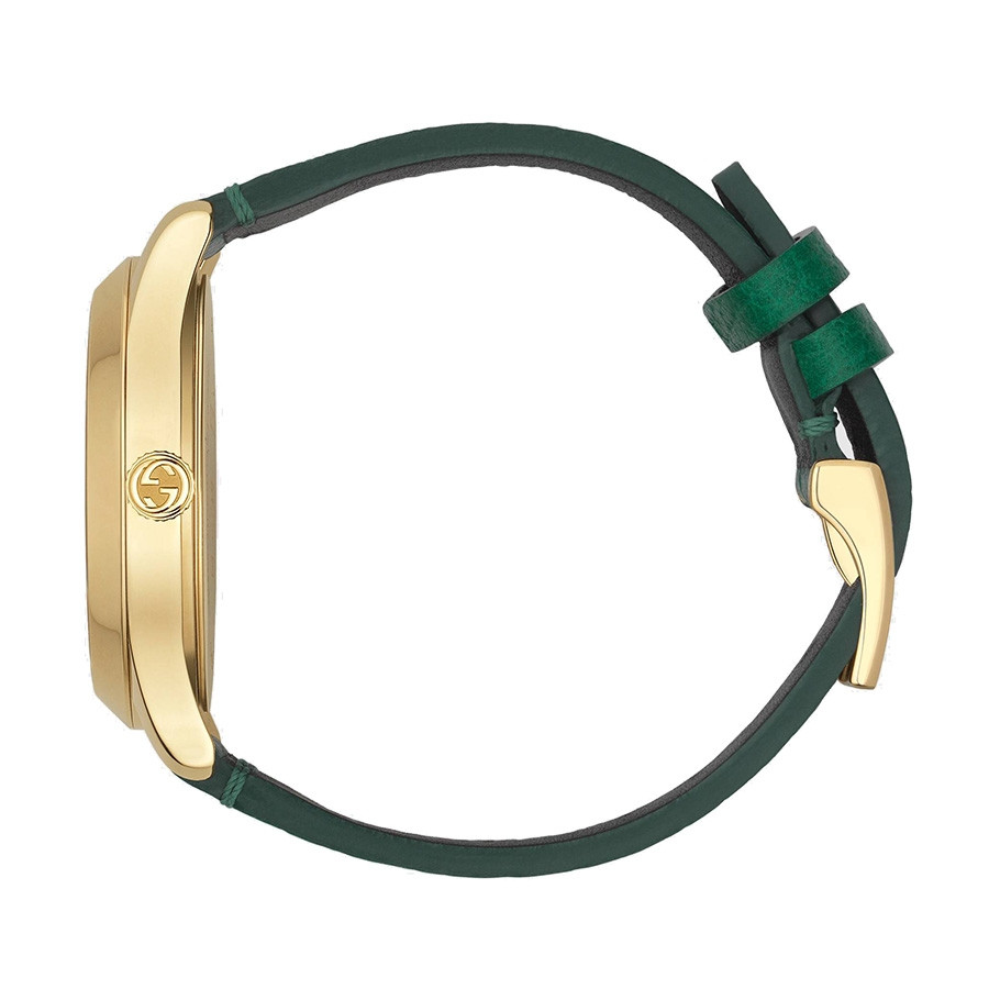 Gucci Green & Yellow Gold Bee Motif G-Timeless Watch Side View