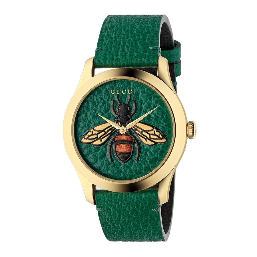 c29286e2d3a Gucci G-Timeless Yellow Gold Plated PVD Bee Motif Green Watch YA1264065