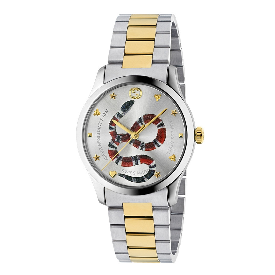 Gucci Two-Tone G-Timeless Kingsnake Silver Sun-Brushed Dial Watch