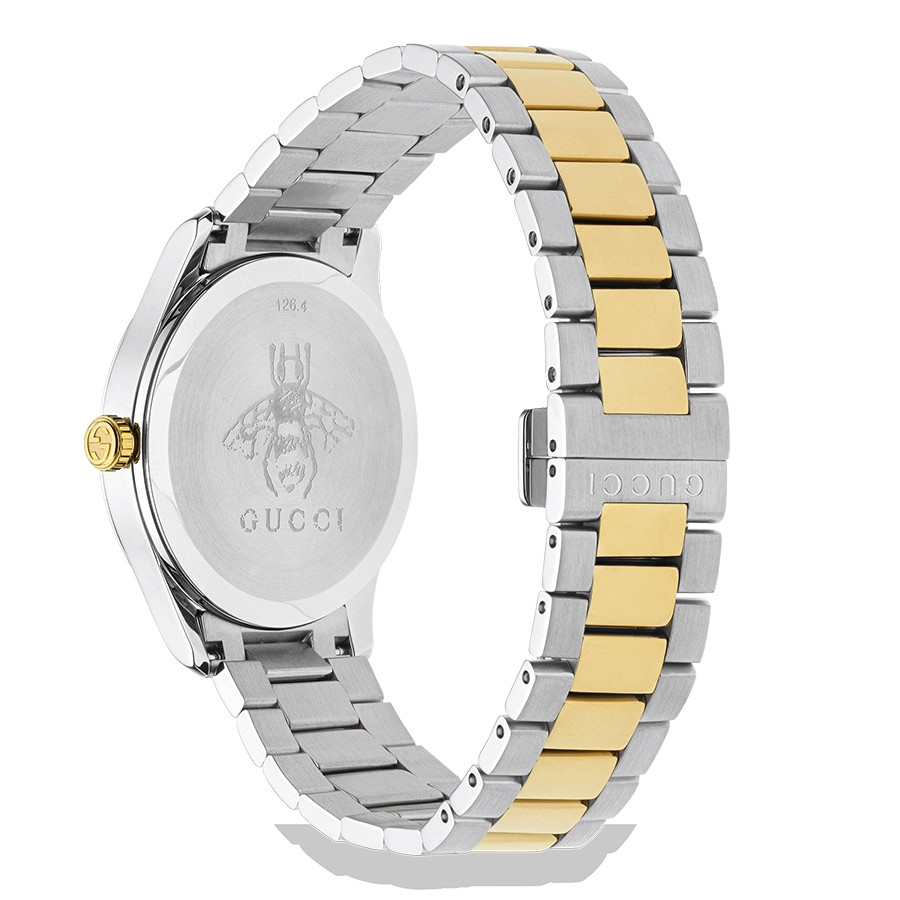 Gucci Two-Tone G-Timeless Kingsnake Silver Sun-Brushed Dial Watch Angle View