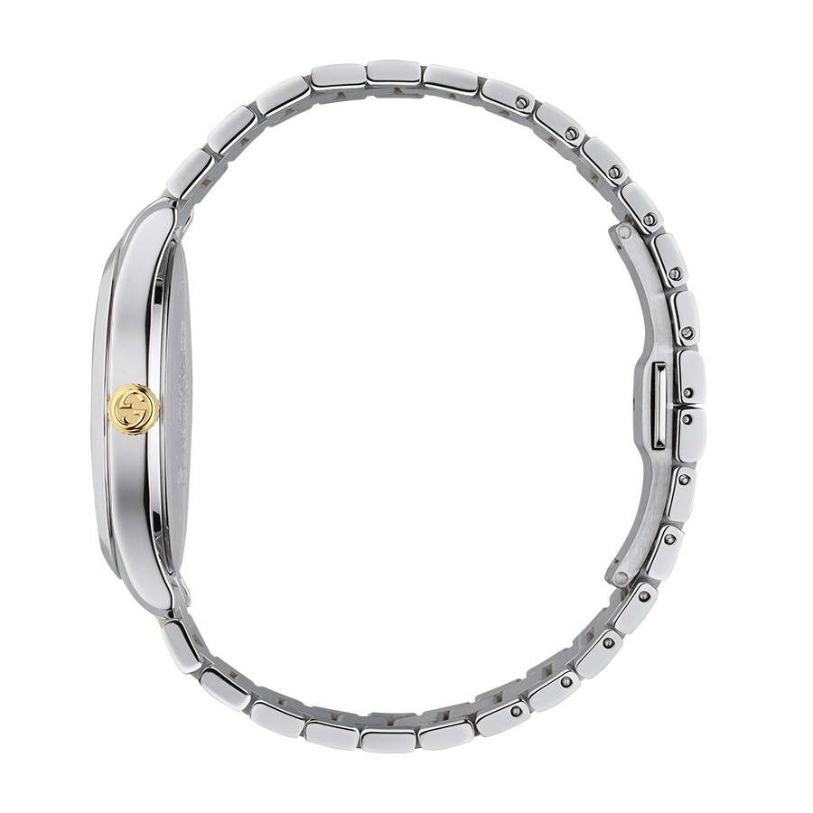 Gucci Two-Tone G-Timeless Kingsnake Silver Sun-Brushed Dial Watch Side View