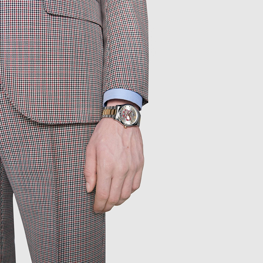Gucci Two-Tone G-Timeless Kingsnake Silver Sun-Brushed Dial Watch on Model