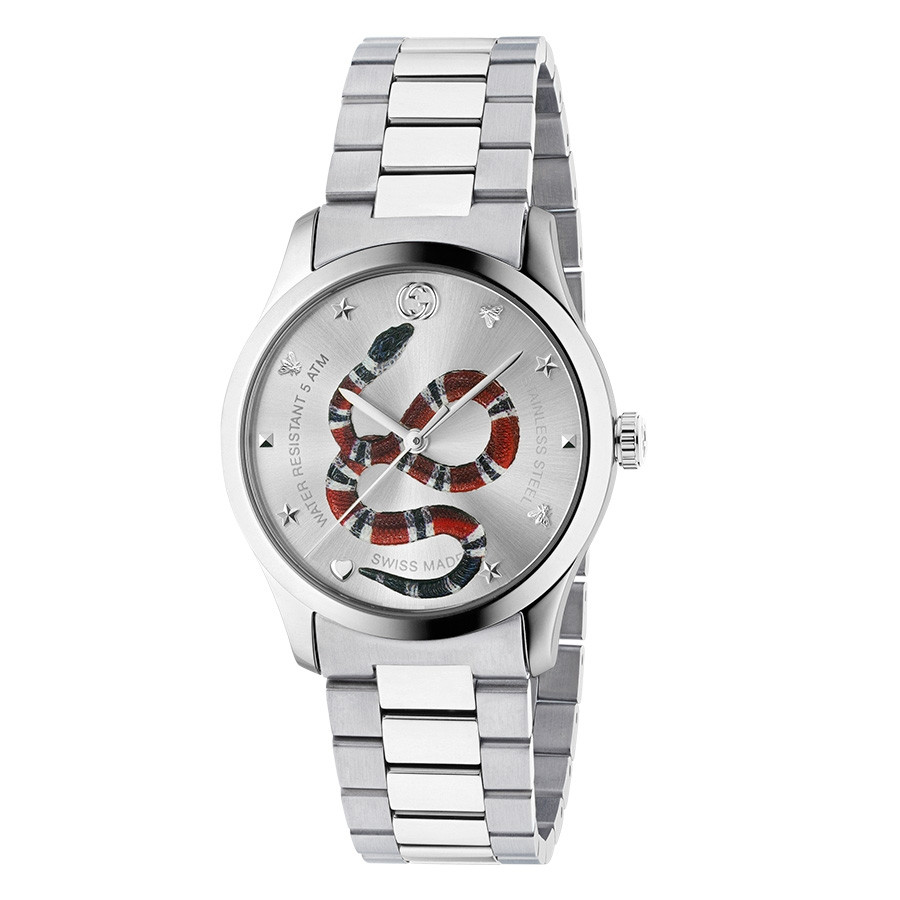 Gucci Stainless Steel G-Timeless Kingsnake Dial Watch