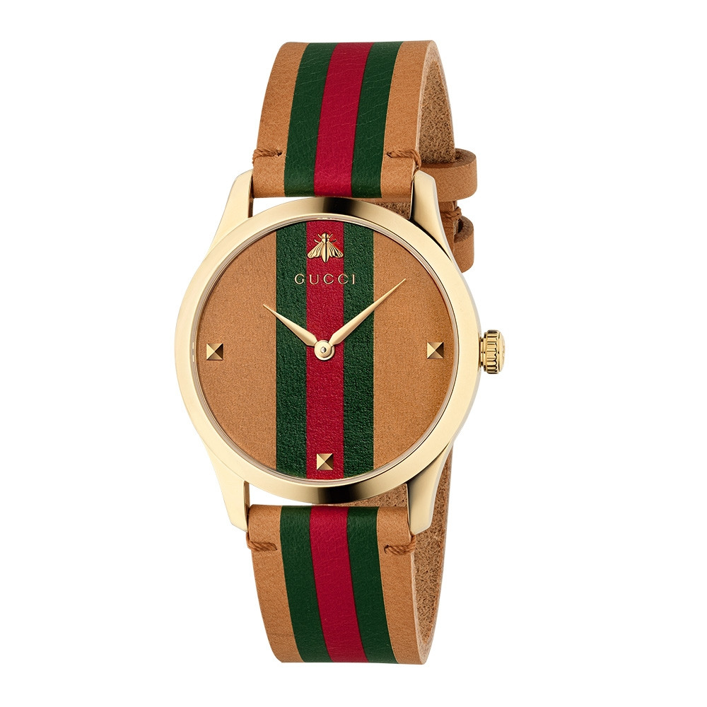 21265563fd3 Gucci G-Timeless Contemporary Yellow Gold Green   Red Stripe Dial Watch