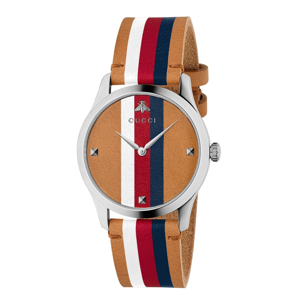 Gucci Stainless Steel Red, White & Blue Stripe G-Timeless Contemporary Watch