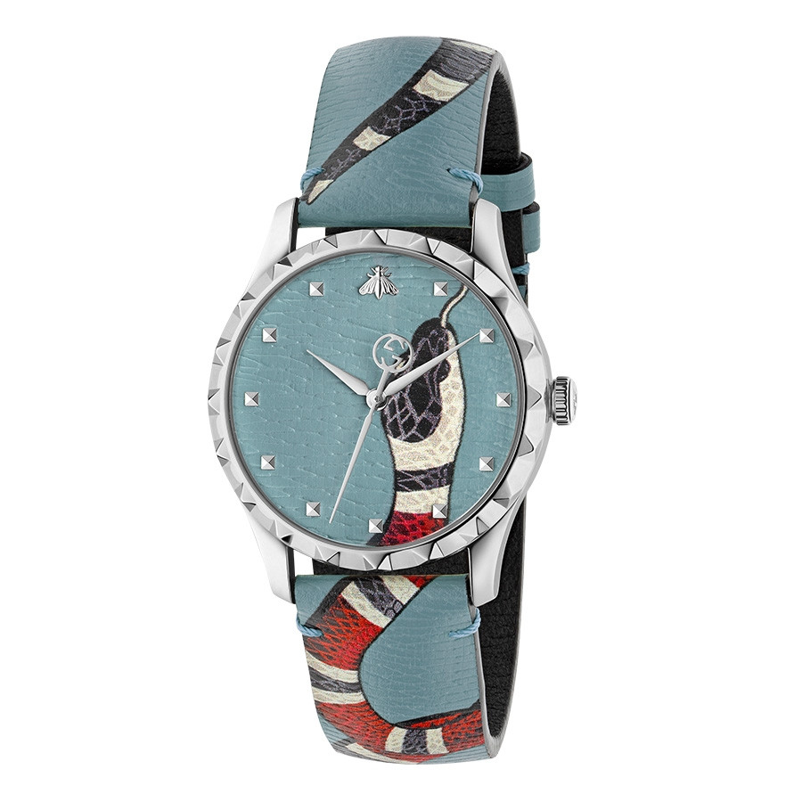 Gucci Light Blue G-Timeless Leather Kingsnake Watch