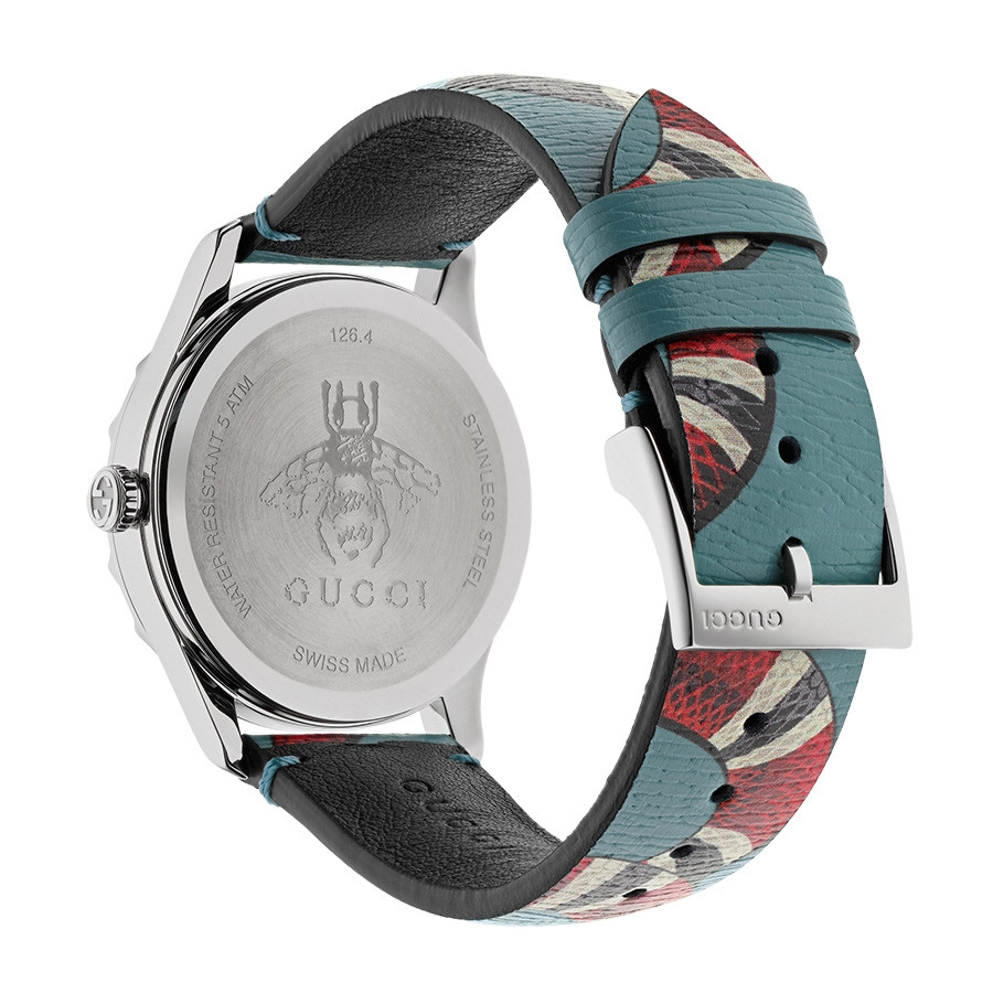 12c55217f8b Gucci G-Timeless Stainless Steel Light Blue Leather Kingsnake Watch