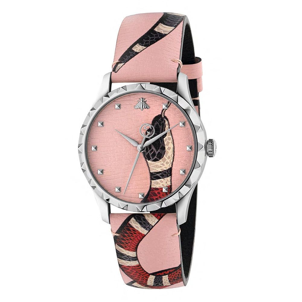 Gucci G-Timeless Pastel Pink Kingsnake Watch