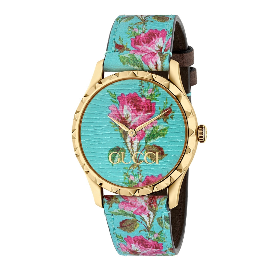 Gucci Yellow Gold G-Timeless Garden Aquamarine Flower Print Dial Watch