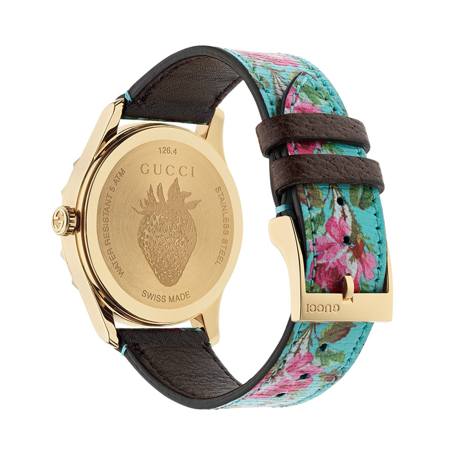 Gucci Yellow Gold G-Timeless Garden Aquamarine Flower Print Dial Watch Angle View