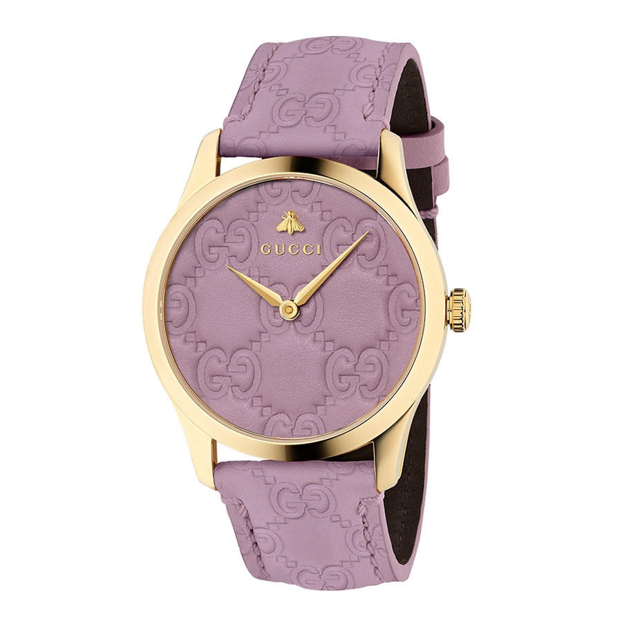 Gucci Signature Yellow Gold Sophisticated Pink Debossed Dial G-Timeless Watch