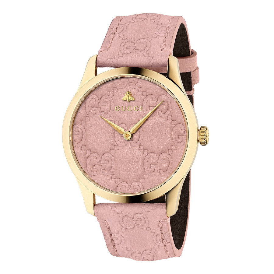 Gucci G-Timeless Signature 38mm Yellow Gold Pastel Pink Dial Watch ...