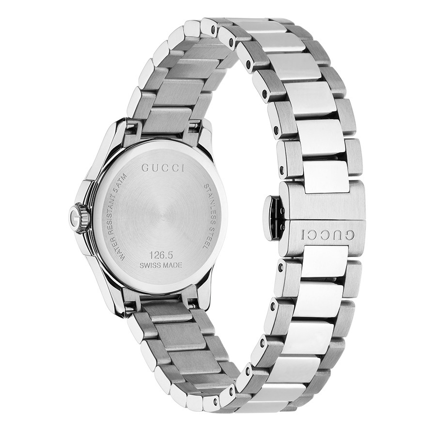 Gucci 27mm Two-Tone Silver Diamond Pattern Dial G-Timeless Watch Angle View