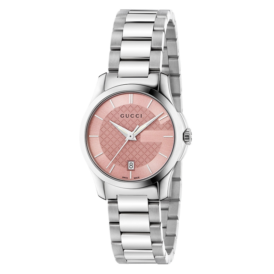 Gucci 27mm Stainless Steel Pink Diamond Pattern Dial G-Timeless Watch