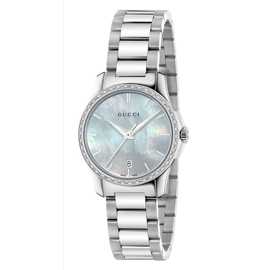 Gucci Stainless Steel Mother of Pearl & Diamond Bezel G-Timeless Watch