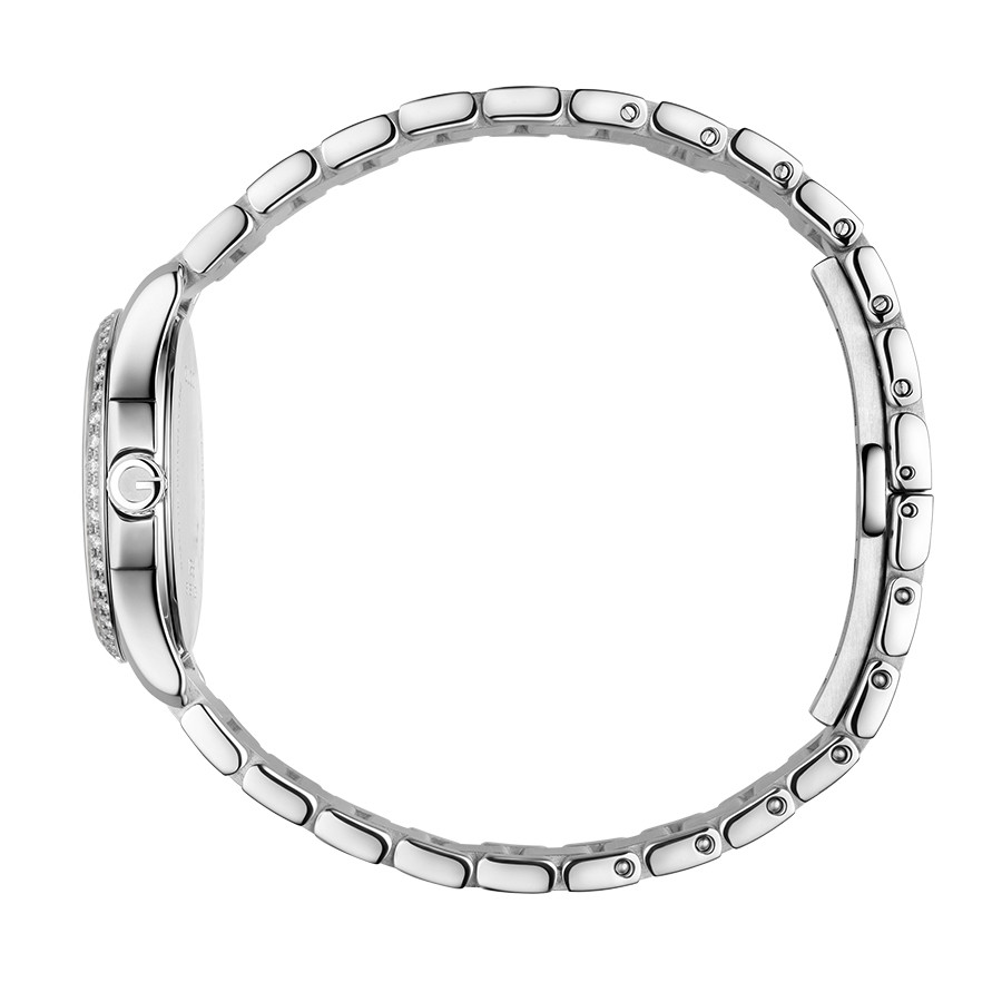 Gucci Stainless Steel Mother of Pearl & Diamond Bezel G-Timeless Watch Side View