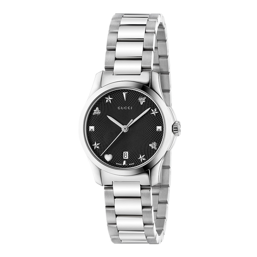 G-Timeless Stainless Steel 27mm Black House Motif Gucci Dial Watch