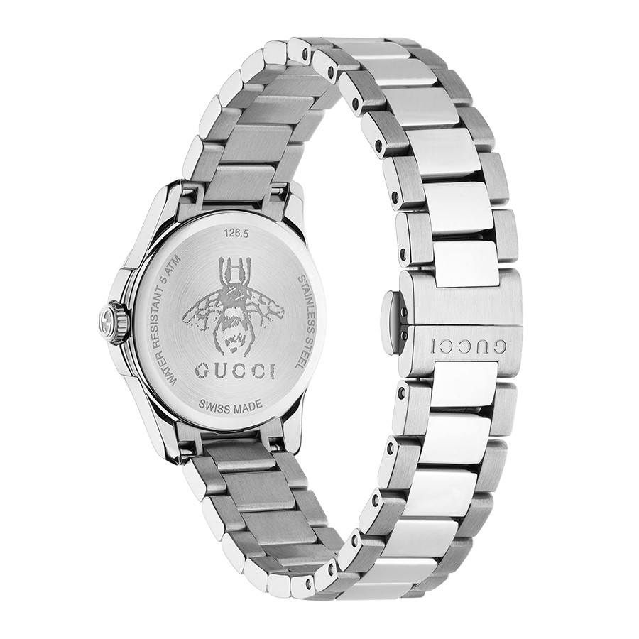 G-Timeless Stainless Steel 27mm Black House Motif Gucci Dial Watch Angle View