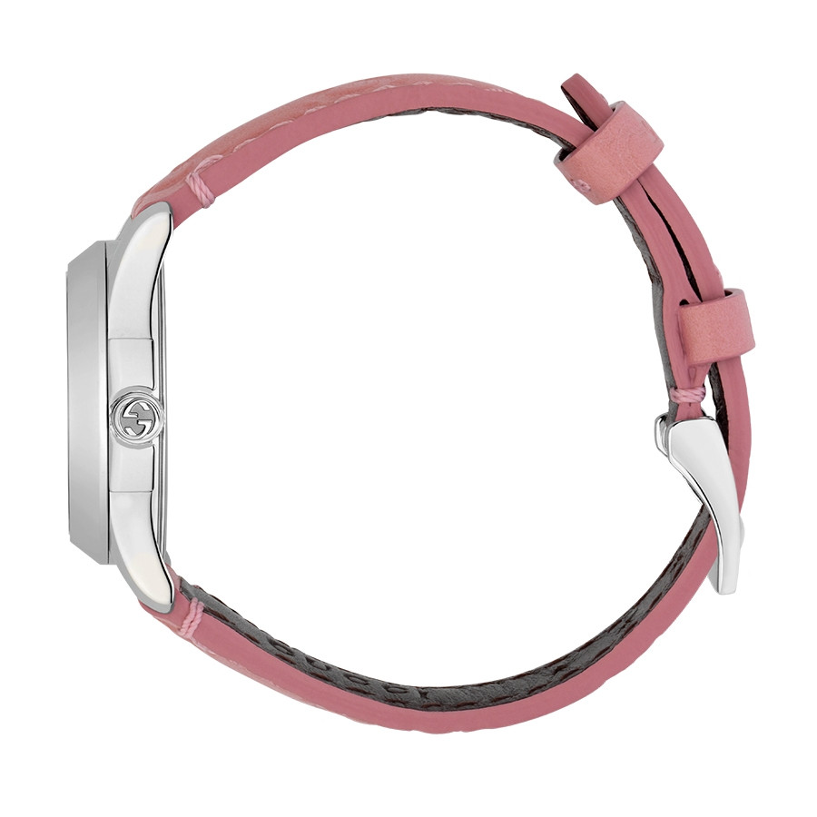 Gucci Signature 27mm Stainless Steel G-Timeless Pink Dial Watch Side View