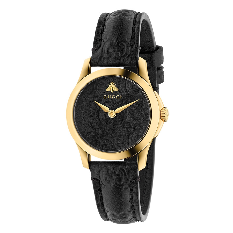 Gucci Signature 27mm Yellow Gold Black G-Timeless Dial Watch
