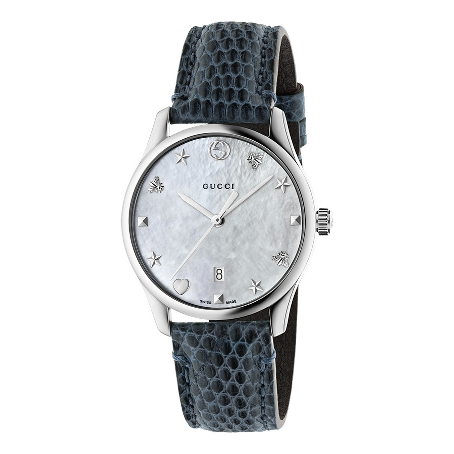 Gucci Slim 29mm Silver Mother of Pearl House Motif Dial G-Timeless Watch