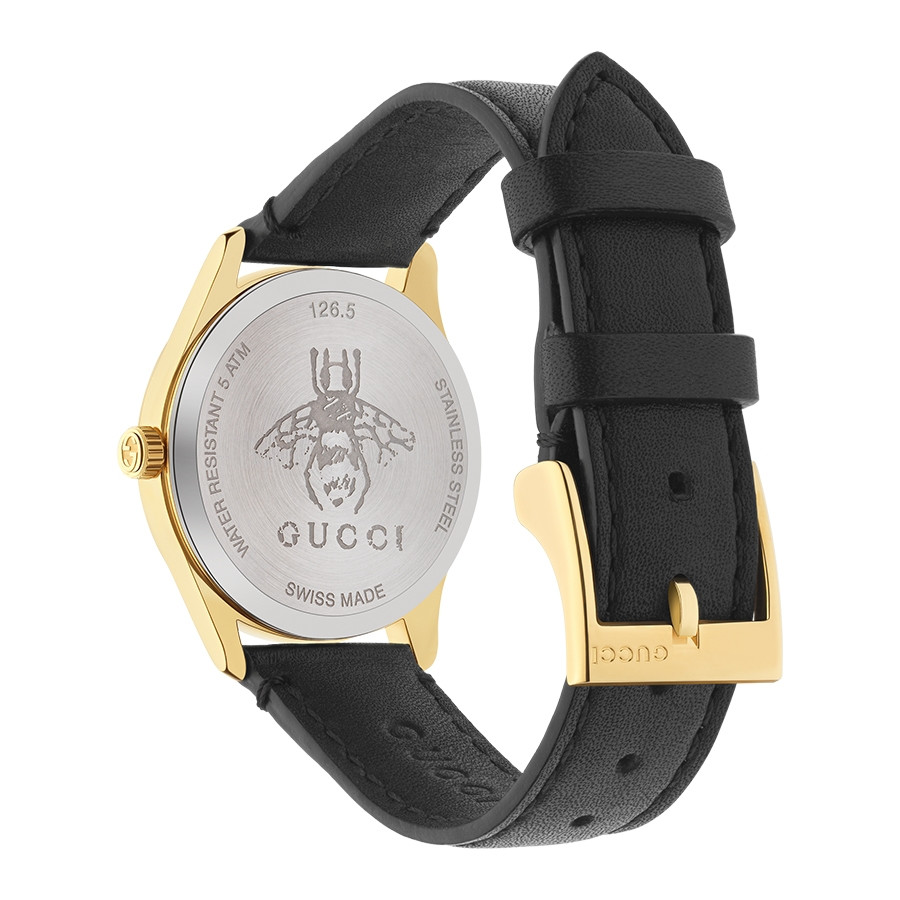 G-Timeless Slim 29mm Yellow Gold Mother of Pearl House Motif Gucci Dial Watch Angle View