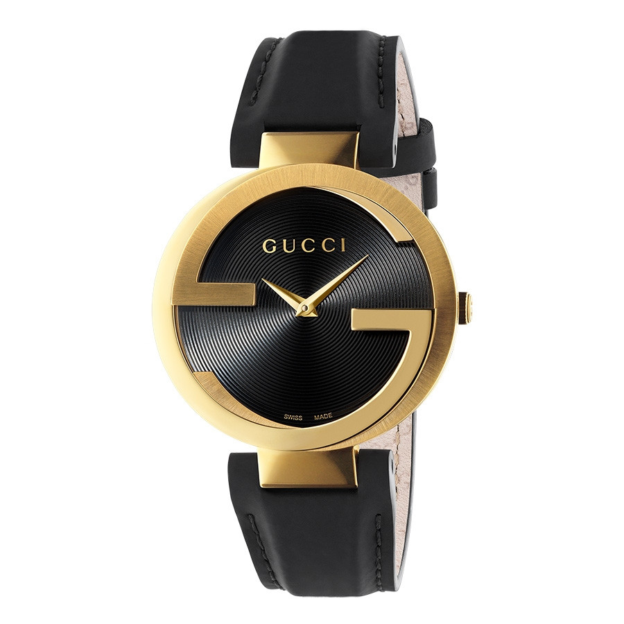 Gucci Interlocking GG Yellow Gold Black Dial Watch Front View