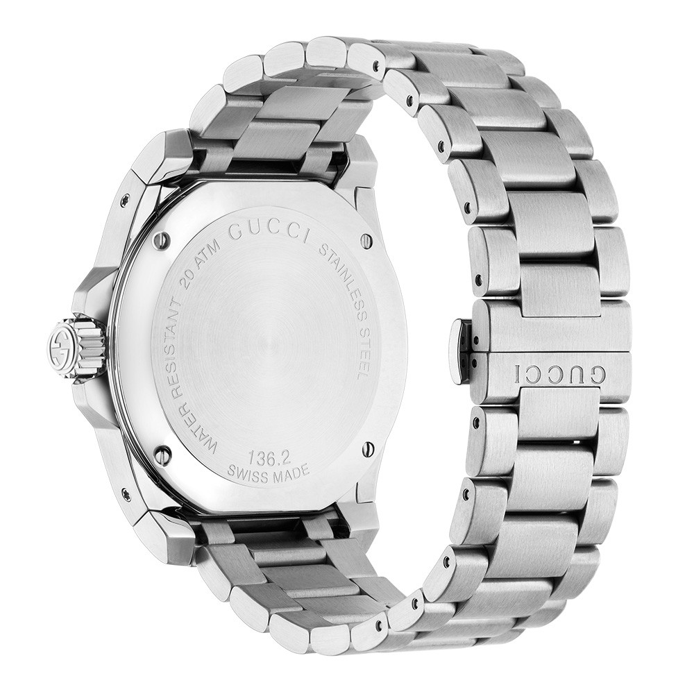 Gucci XL 45mm Stainless Steel Black Dial Dive Watch Angle View