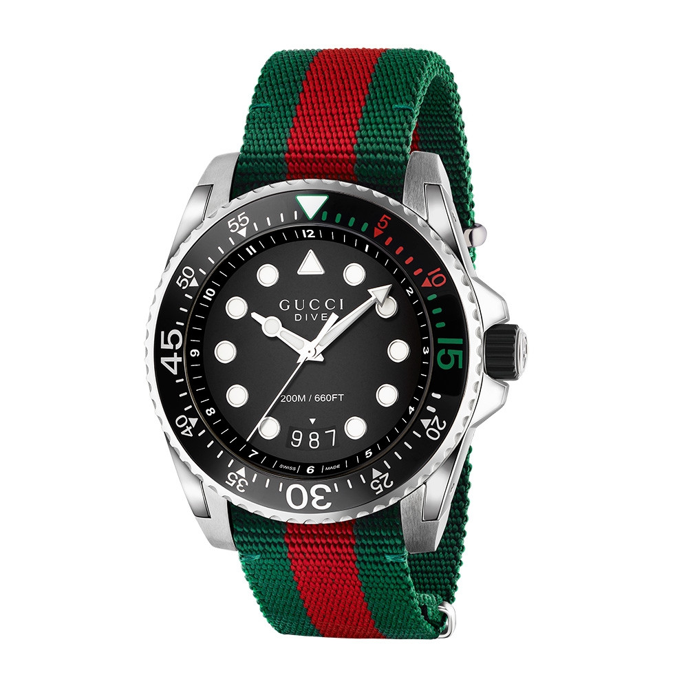 Gucci 45mm Stainless Steel Green & Red Striped Nylon Dive Watch