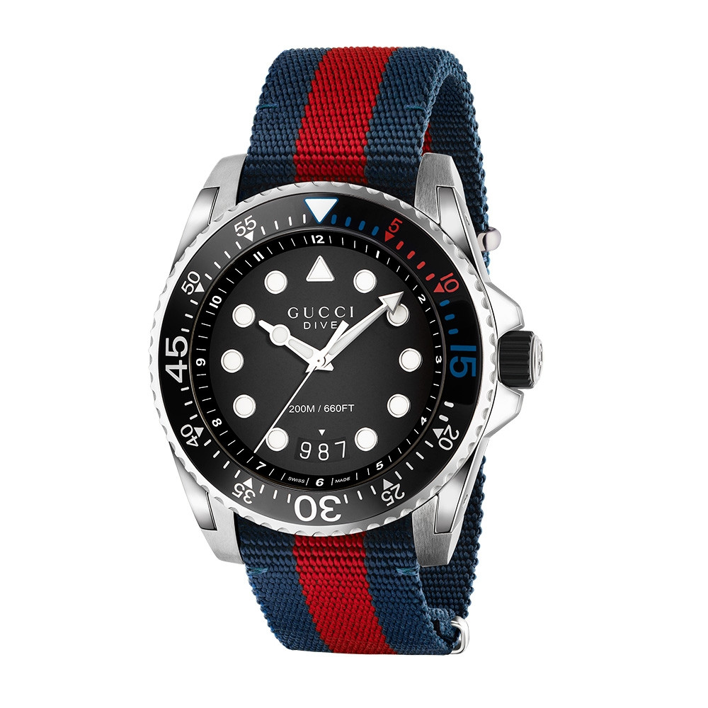Gucci 45mm Stainless Steel Blue & Red Striped Nylon Dive Watch