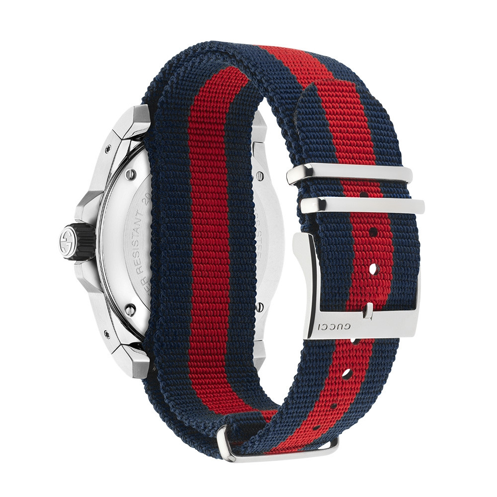 Gucci 45mm Stainless Steel Blue & Red Striped Nylon Dive Watch Angle View