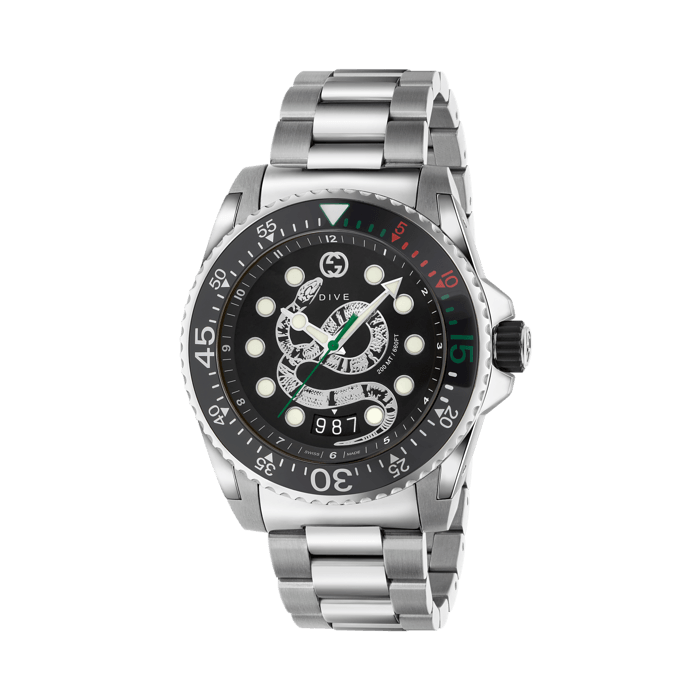 Gucci Dive 45mm Stainless Steel Snake Watch face