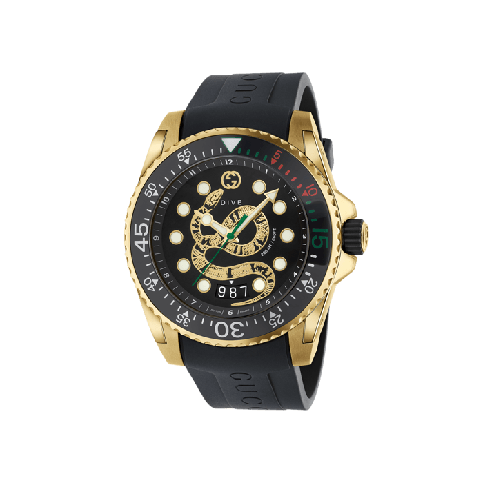Gucci Dive 45mm Yellow Gold Snake Watch face