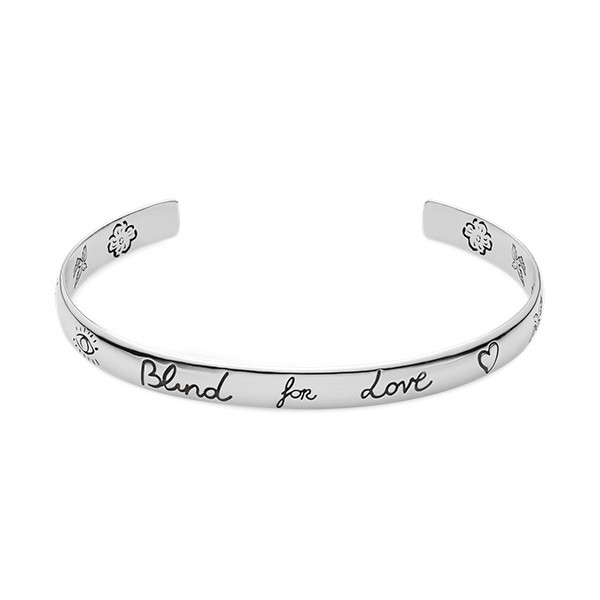 Gucci Small Blind For Love Silver Bangle Bracelet