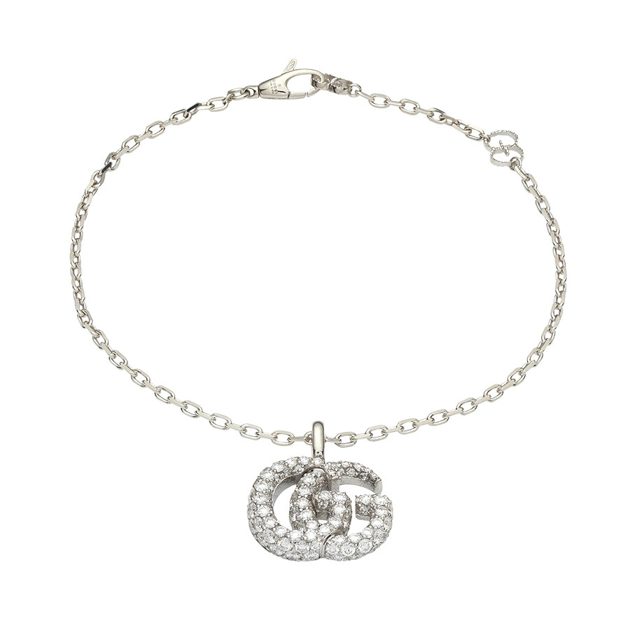 "Gucci 6"" White Gold GG Running Pave Diamond Double G Charm Bracelet"