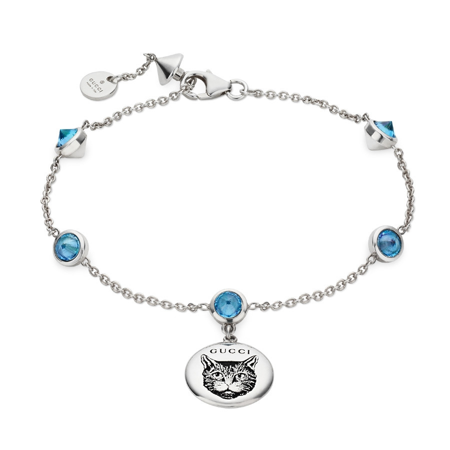 87b5e685d Gucci Blind for Love Silver Charm Bracelet with Blue Zirconia Stations