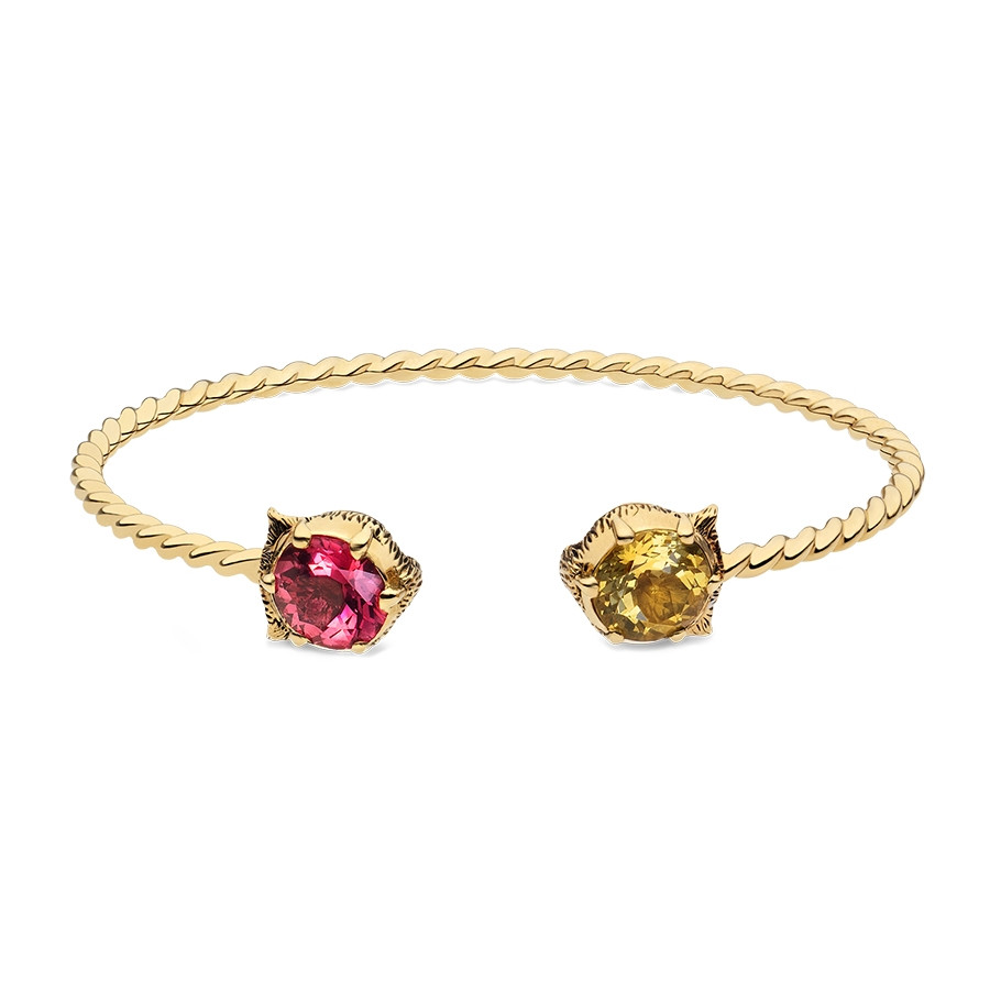 Gucci Yellow Gold Pink Tourmaline & Yellow Beryl Feline Head Bangle Bracelet
