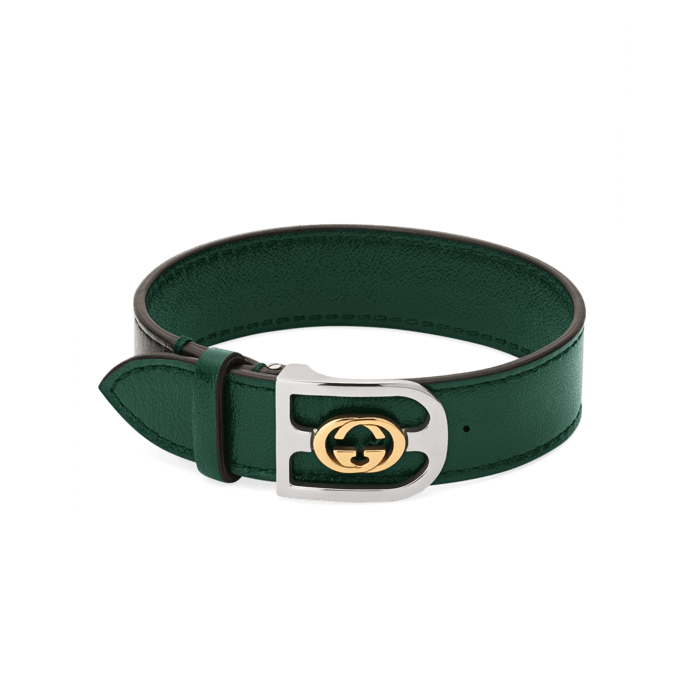Gucci GG Green Leather Buckle Bracelet in 18K gold and steel Main image