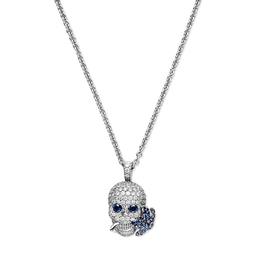 Gucci White Gold Flora Diamond & Blue Sapphires Skull Necklace