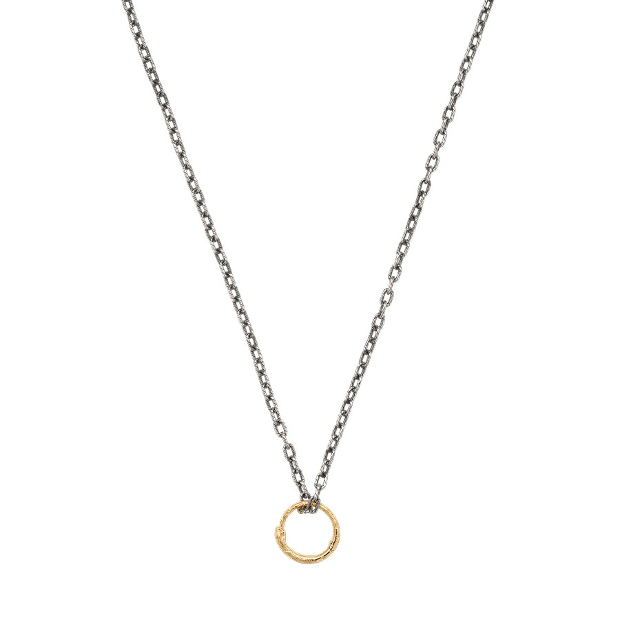 Gucci Two-Tone Circle Snake Pendant Chain Ouroboros Necklace