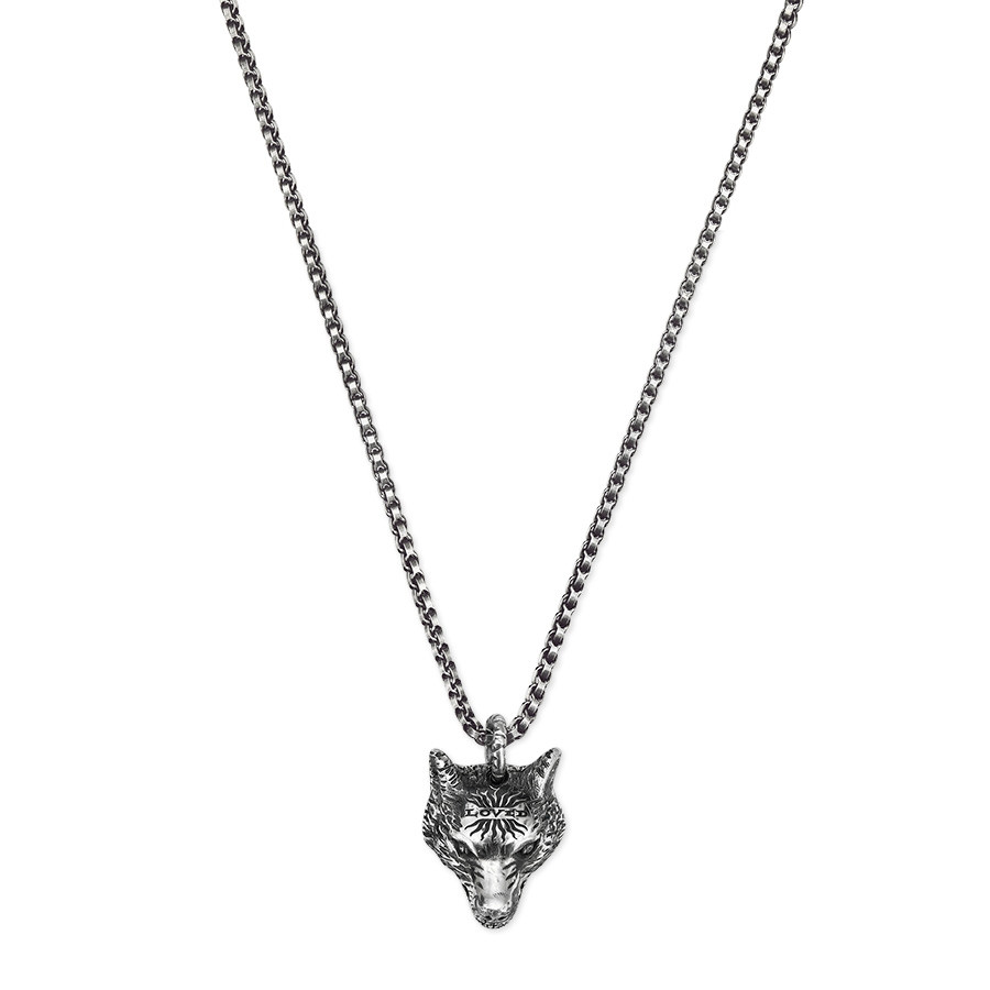 Gucci Silver Anger Forest Wolf Head Pendant Necklace