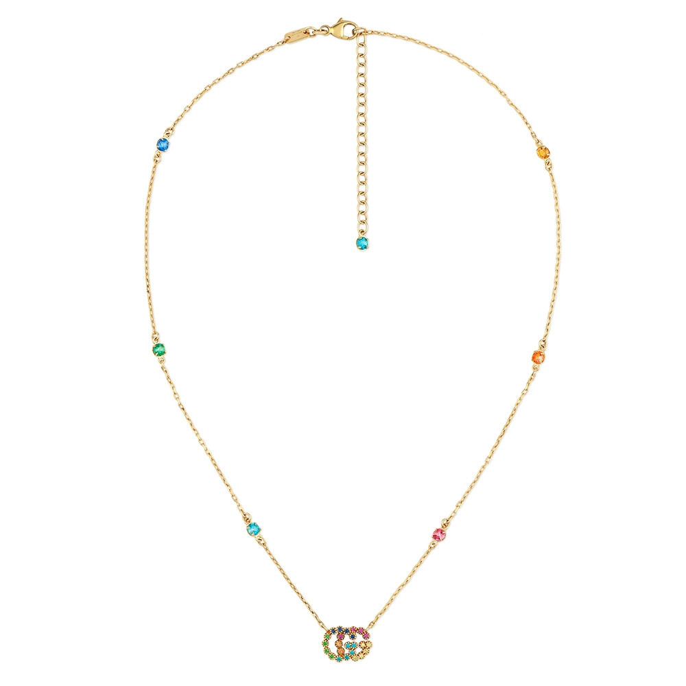 Gucci GG Running Yellow Gold Mixed Gemstone Station Necklace Full View