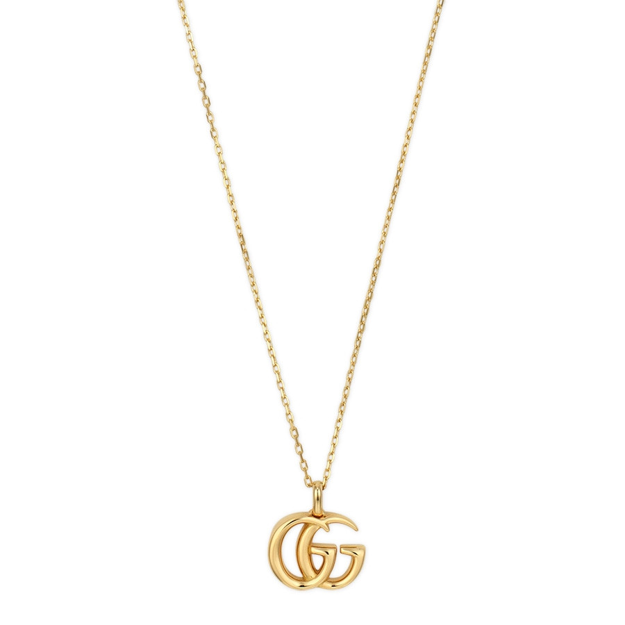 Gucci gg running 18k yellow gold small double g necklace ybb502088001 aloadofball Image collections