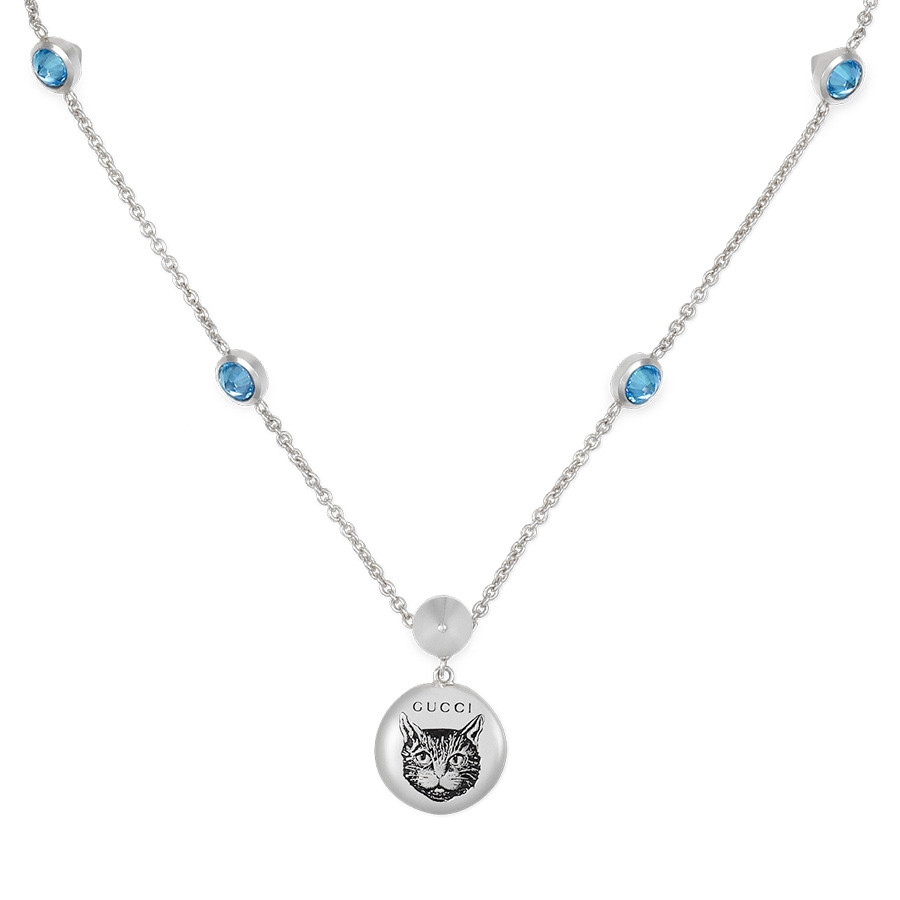 Gucci Silver Blind for Love Blue Zirconia Circle Pendant Necklace